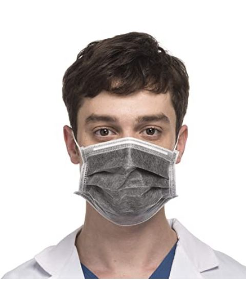 5X DISPOSABLE 3 PLY FACE HOSPITAL MASK MEDICAL SURGICAL FLU BLACK CARBON