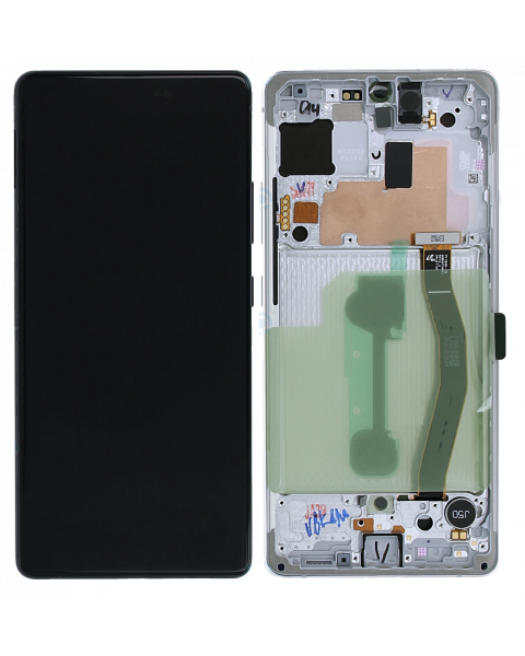 Samsung Galaxy S10 Lite SM-G770F Lcd Touch Screen Display Complete Original Genuine White With Frame