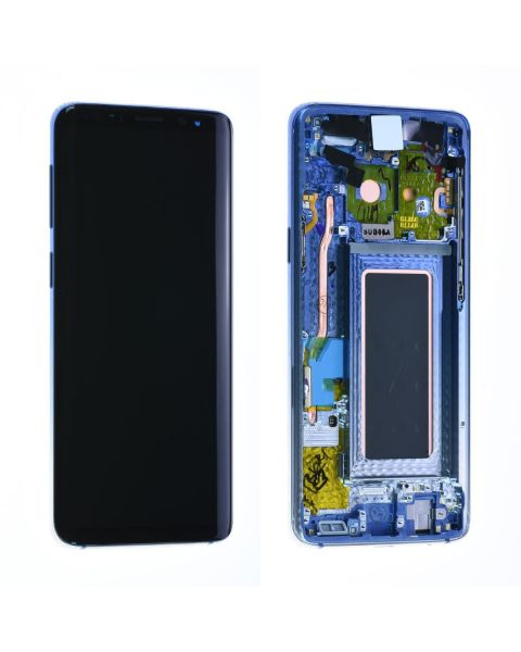 Samsung Galaxy S9 SM-G960F Lcd Touch Screen Display Complete Original Genuine Polaris Blue With Frame