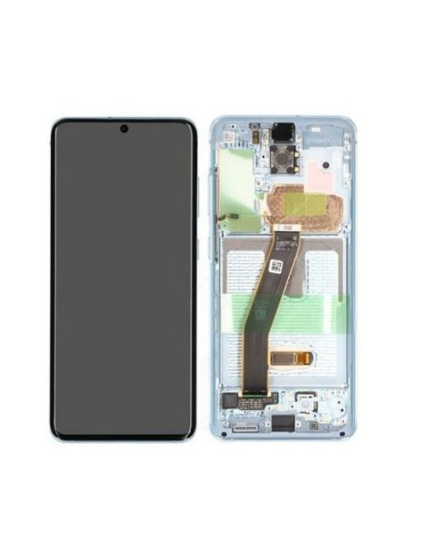 Samsung Galaxy S20 G980 Lcd Touch Screen Display Complete Original Genuine Blue With Frame