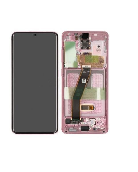 Samsung Galaxy S20 G980 Lcd Touch Screen Display Complete Original Genuine Pink With Frame