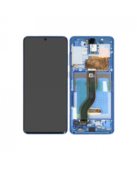 Samsung Galaxy S20+ S20 Plus G986 Lcd Touch Screen Display Complete Original Genuine Aura Blue With Frame