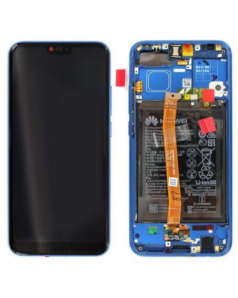 Huawei Honor 10 Lcd Screen Display Digitizer Touch Original Genuine Complete Replacement Blue With Battery + Frame