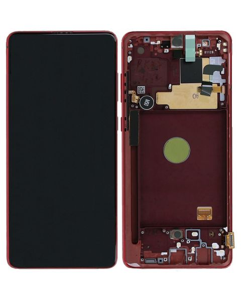 Samsung Galaxy Note 10 Lite SM-N770F Lcd Touch Screen Display Complete Original Genuine Red With Frame