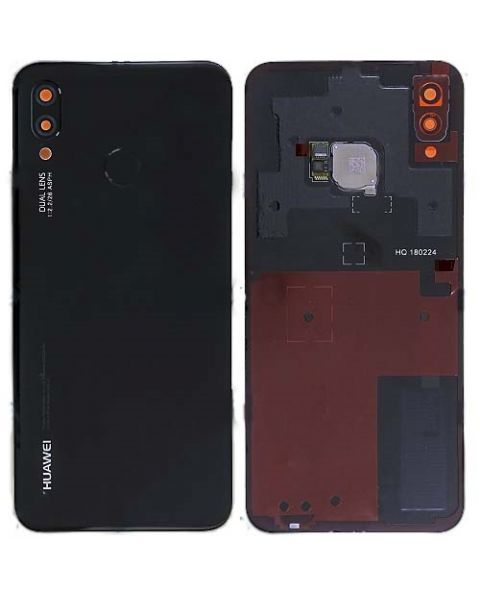 14 DAY Huawei P20 Lite Back Rear Battery Cover Original Genuine Complete Replacement Black + Fingerprint Reader LIKE NEW