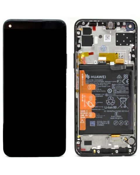 Huawei P40 Lite 5G Black Lcd Screen Display Digitizer Touch Original Genuine Complete Replacement With Battery + Frame