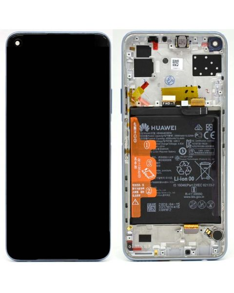 Huawei P40 Lite 5G Space Silver Lcd Screen Display Digitizer Touch Original Genuine Complete Replacement With Battery + Frame