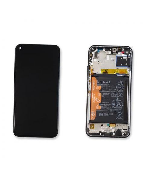 Huawei P40 Lite Black Lcd Screen Display Digitizer Touch Original Genuine Complete Replacement With Battery + Frame