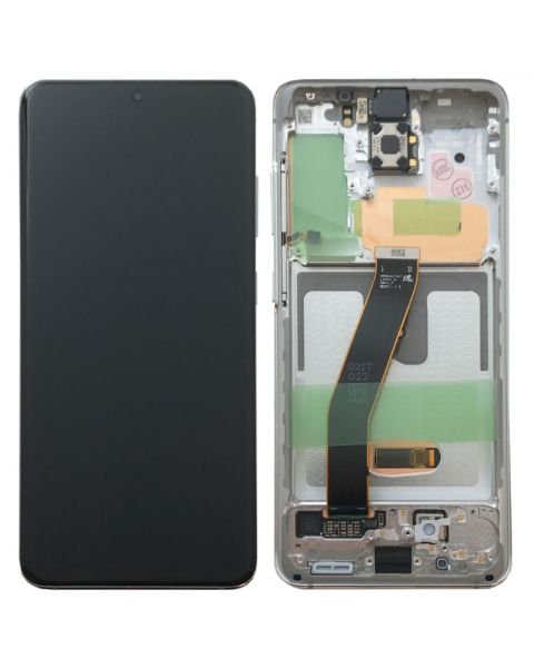 Samsung Galaxy S20 G980 Lcd Touch Screen Display Complete Original Genuine White With Frame