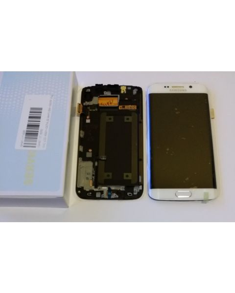 Samsung Galaxy S6 Edge SM-G925F Lcd Touch Screen Display Complete Original Genuine White With Frame