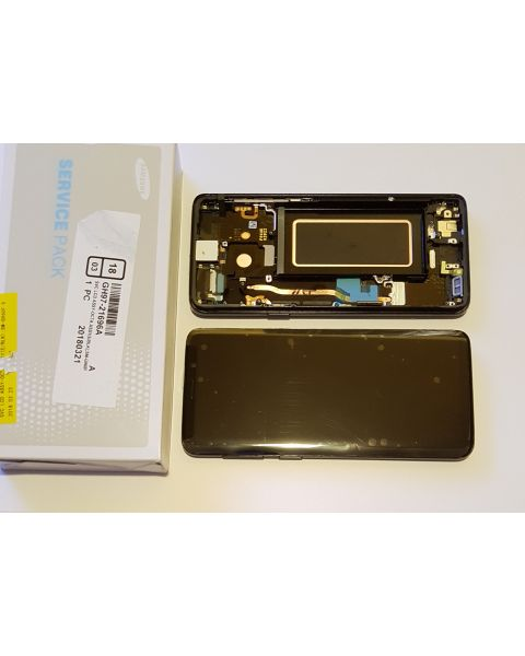 Samsung Galaxy S9 SM-G960F Lcd Touch Screen Display Complete Original Genuine Black With Frame