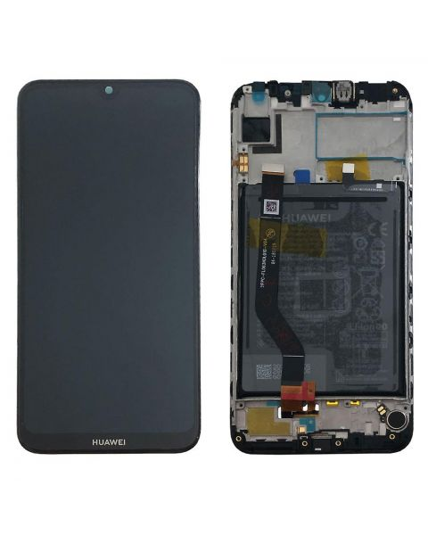 Huawei Honor Y7 2019 Lcd Screen Display Digitizer Touch Original Genuine Complete Replacement Black With Battery + Frame