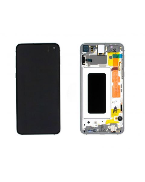 Samsung Galaxy S10E SM-G970F Lcd Touch Screen Display Complete Original Genuine Prism White With Frame