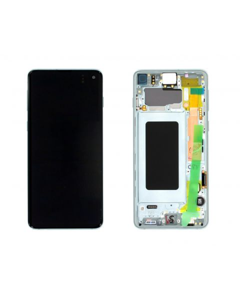 Samsung Galaxy S10 SM-G973F Lcd Touch Screen Display Complete Original Genuine Prism Green With Frame