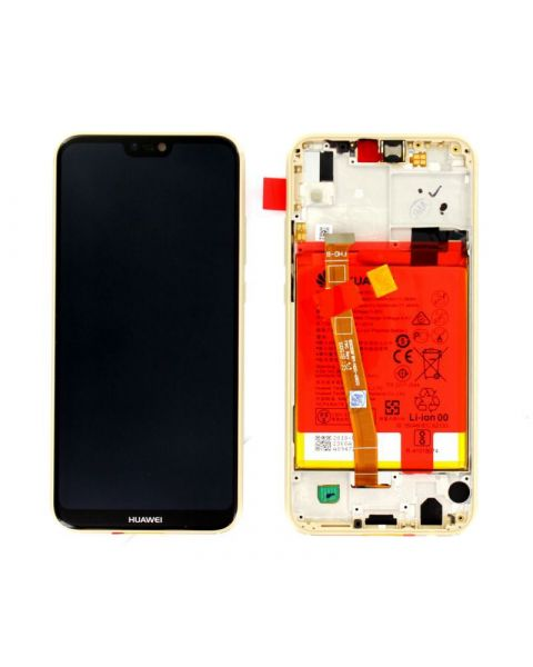 Huawei P20 Lite Lcd Screen Display Digitizer Touch Original Genuine Complete Replacement Gold With Battery + Frame