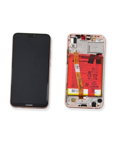 Huawei P20 Lite Lcd Screen Display Digitizer Touch Original Genuine Complete Replacement Rose Gold Pink With Battery + Frame