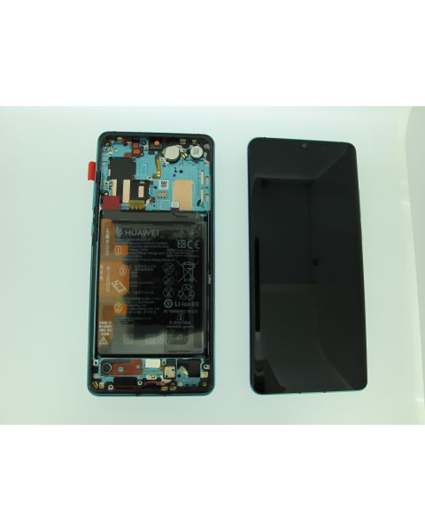 Huawei P30 Pro Lcd Screen Display Digitizer Touch Original Genuine Complete Replacement Aurora Blue With Battery + Frame